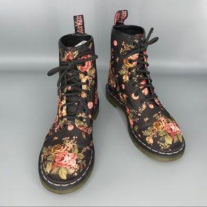 Doc Martens 8-Eye Black Victorian Flowers Boots